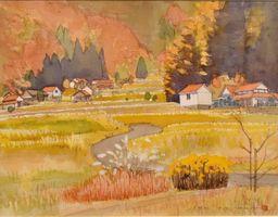 彩り豊かな水彩画「山里晩秋」