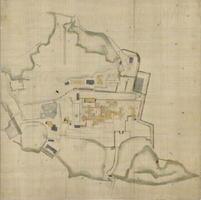 鍋島茂義が隠居所として建築した御茶屋と敷地を示した絵図「御館図」。左下に「御製薬所」、中央上部に「三ノ宮」がある