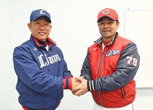 県のSSP構想のアンバサダーに就任する西武・辻監督(左)と広島・緒方監督