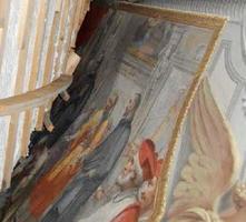 ローマの邸宅で見つかった、天井に描かれた天正遣欧少年使節のフレスコ画の一部(ニコロ・ボンコンパーニ・ルドビージ氏提供・共同)