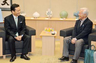 知事と今田氏、選挙振り返る 県庁で会談