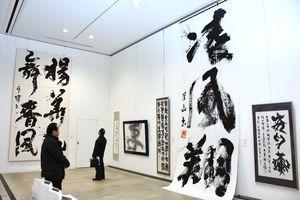 迫力のある大作も多く並ぶ県高校書道教師書作展=佐賀市の佐賀大学美術館