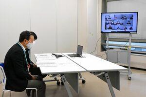 高齢者福祉について意見交換をした日韓8自治体によるオンライン会議=佐賀県庁