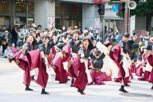 息の合った演舞を披露する「YOSAKOIさが」の出演者=佐賀市の中央大通り