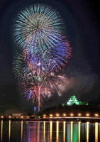 次々に打ち上げられ、唐津の夜空を彩る大輪の花火。右下は今年で完成から50年を迎える唐津城=唐津市(ISO400、絞りf16、7コマ多重露光)