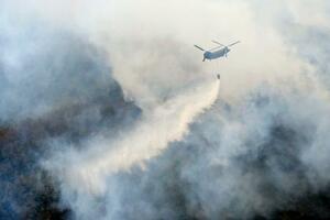 21日に発生し、依然、煙が上がる山林火災の現場で消火活動に当たるヘリコプター=24日午前10時、栃木県足利市(共同通信社ヘリから)