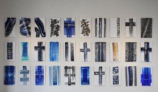 墨と色の融合深遠な世界 平江潔さん抽象画80点