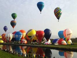 熱気球世界選手権の公式練習で一斉離陸するバルーン=30日朝、佐賀市の嘉瀬川河川敷
