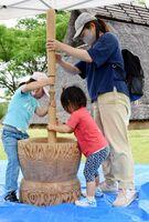 杵(きね)で脱穀に取り組む親子=吉野ケ里歴史公園