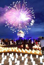 花火と紙灯籠の光の競演 「吉野ケ…