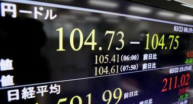 東京円、一時104円台