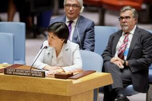 国連安全保障理事会の緊急会合で演説する、国連軍縮担当上級代表の中満泉事務次長=22日、米ニューヨークの国連本部(国連提供・共同)