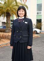 皆勤で太良町から通い、佐賀商水泳部の主将として周囲を引っ張った安本彩夏さん=佐賀市の同校