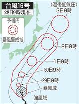 台風16号北上、高波に警戒