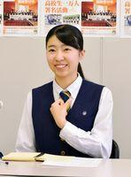 高校生平和大使に選ばれ、抱負を語る北村菜々さん=県庁
