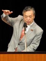 「共謀罪」の問題点などを指摘した共産党の穀田恵二国対委員長=佐賀市の東与賀文化ホール