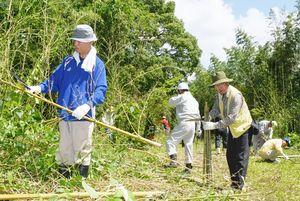 有明海を再生させる第一歩として、カキを育てるための竹ひびをつくる参加者ら=佐賀市の石井樋公園兵庫竹林