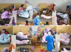 中国・武漢市内に設置された臨時病院=17日(新華社=共同)