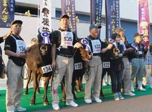 「第11回全国和牛能力共進会」の4区でトップを獲得した大分県代表の牛と出品者ら=9日午後、仙台市