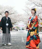 満開の桜の下で、仲むつまじく記念撮影した婚約カップル=鹿島市古枝の祐徳稲荷神社門前商店街