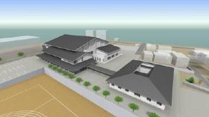 嬉野市総合体育館(左・仮称)と、うれしの市民センター(右・同)の俯瞰イメージ図(提供)