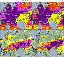 2019年8月28日午前5時(左)と大雨特別警報発令後の同6時(右)のキキクルの画面。上段は土砂災害、下段は浸水(佐賀地方気象台提供)