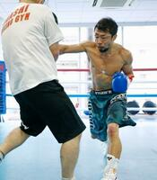 公開練習でミット打ちをする八重樫東=横浜市の大橋ジム