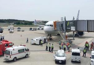 香港行き旅客機で煙、成田